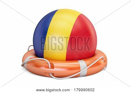 Lifebelt with Romania flag safe help and protect concept. 3D rendering