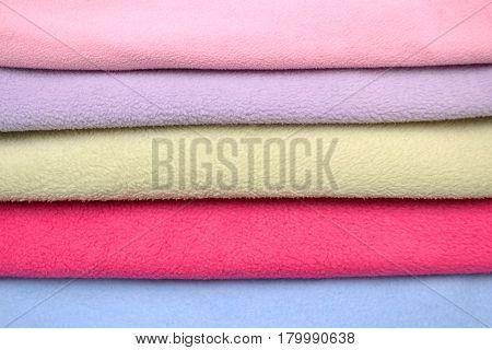 Colored fleece fabric background, pile fleece fabric