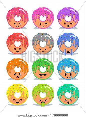Sweet donut with glaze set of emoji facial expressions and activities. Donut emoticon. Funny food stickers vector cartoon illustration.