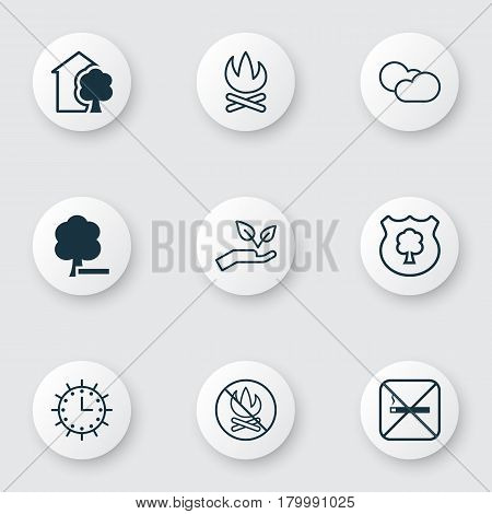 Set Of 9 Ecology Icons. Includes House, Save World, Cloud Cumulus And Other Symbols. Beautiful Design Elements.