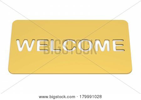 Welcome golden doormat. 3D rendering isolated on white background