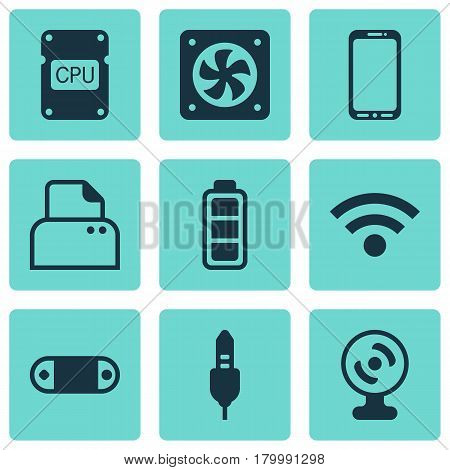 Set Of 9 Computer Hardware Icons. Includes Radio Set, Computer Ventilation, File Scanner And Other Symbols. Beautiful Design Elements.