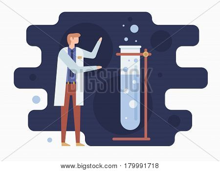 Chemist and Laboratory. Chemical experiment by a talented student. Vector illustration.