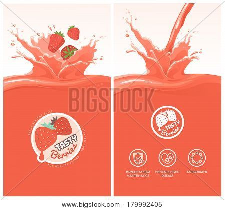 Drink menu with healthy stawberry juice splash fruit icons and tasty berries badge