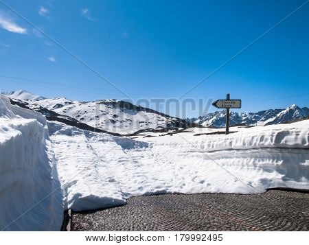 Gotthardpass Switzerland: Beautiful sunny spring day for the day of the Feast of the Ascension. The pass is still a lot of snow in the winter