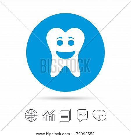 Tooth happy face sign icon. Dental care symbol. Healthy teeth. Copy files, chat speech bubble and chart web icons. Vector