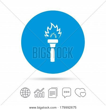 Torch flame sign icon. Fire flaming symbol. Copy files, chat speech bubble and chart web icons. Vector