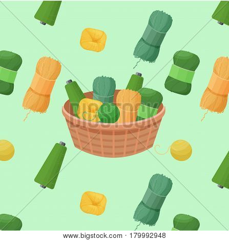 colorful pattern vector illustration with woolen green yarn skeins for knitting and handmade concept