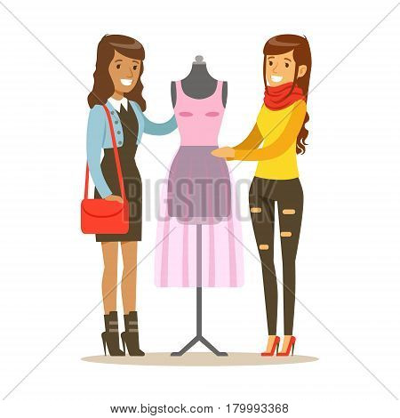 Two Women Discussing Pink Dress On Dummy, Part Of People Using Tailoring And Designer Professional Service Set Of Vector Illustrations. Person Taking Care Of The Clothes And Laundry Cartoon Drawing With Smiling Character.