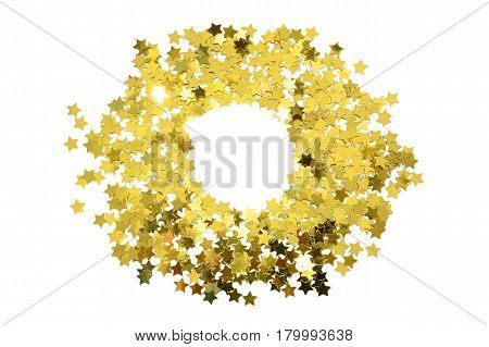 Round frame with foil gold stars. Scattered stars border. Natural foiled texture