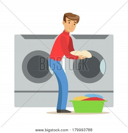 Guy Loading Dirty Laundry, Part Of People Using Automatic Self-Service Laundromat Washing Machines Of Vector Illustrations. Person Taking Care Of The Clothes And Laundry Cartoon Drawing With Smiling Character.