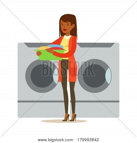 Girl Loading Dirty Laundry, Part Of People Using Automatic Self-Service Laundromat Washing Machines Of Vector Illustrations. Person Taking Care Of The Clothes And Laundry Cartoon Drawing With Smiling Character.
