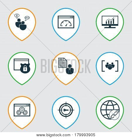 Set Of 9 Marketing Icons. Includes Market Research, Questionnaire, Security And Other Symbols. Beautiful Design Elements.