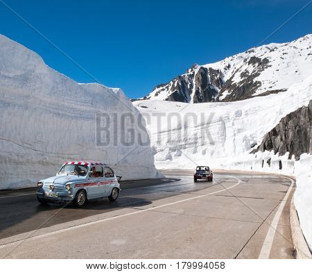 Gotthardpass Switzerland - May 14 2015: Beautiful sunny spring day for the day of the Feast of the Ascension. The pass is still a lot of snow in the winter
