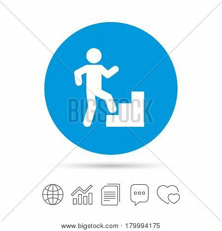Upstairs icon. Human walking on ladder sign. Copy files, chat speech bubble and chart web icons. Vector