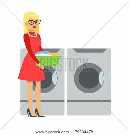 Woman Bringing Dirty Laundry In A Bucket, Part Of People Using Automatic Self-Service Laundromat Washing Machines Of Vector Illustrations. Person Taking Care Of The Clothes And Laundry Cartoon Drawing With Smiling Character.