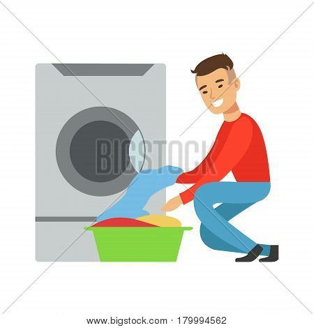 Man Taking Out Clean Laundry, Part Of People Using Automatic Self-Service Laundromat Washing Machines Of Vector Illustrations. Person Taking Care Of The Clothes And Laundry Cartoon Drawing With Smiling Character.