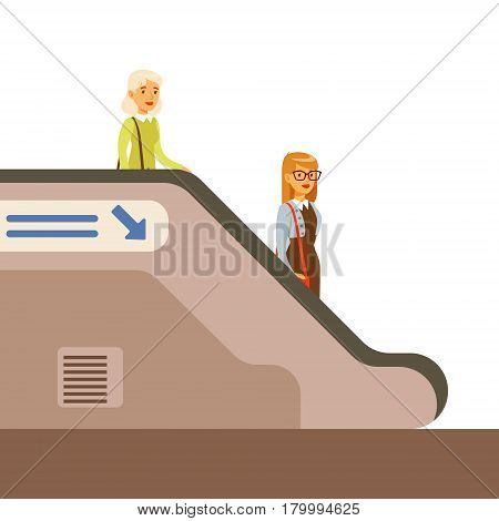 Pasangers Descending Escalator In Metro, Part Of People Taking Different Transport Types Series Of Cartoon Scenes With Happy Travelers. Travelling With Public Transportation Vector Simplified Scene.