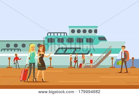 Passangers Boarding A Cruise Liner, Part Of People Taking Different Transport Types Series Of Cartoon Scenes With Happy Travelers. Travelling With Public Transportation Vector Simplified Scene.