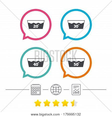 Wash icons. Machine washable at 20, 30, 40 and 50 degrees symbols. Laundry washhouse signs. Calendar, internet globe and report linear icons. Star vote ranking. Vector