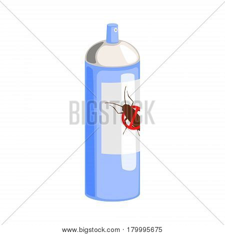 Blue can of cockroach insecticide. Pest control service, detecting exterminating insects. Colorful cartoon illustration isolated on a white background