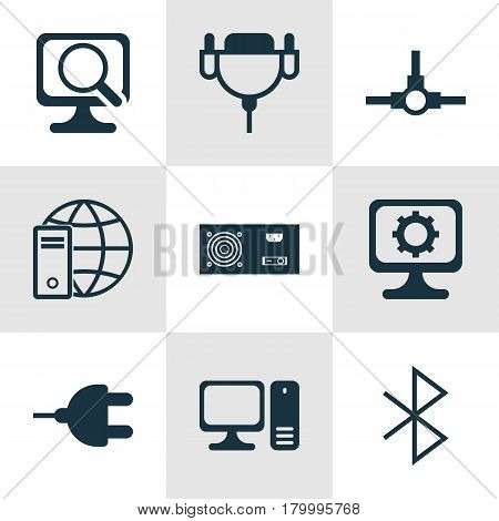 Set Of 9 Computer Hardware Icons. Includes Vga Cord, Power Generator, PC And Other Symbols. Beautiful Design Elements.