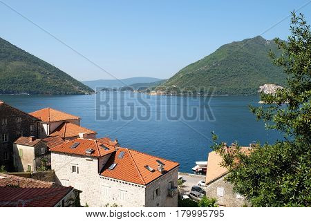 View of town Perast and Verige Strait in Kotor Bay Montenegro