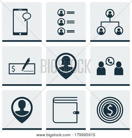 Set Of 9 Hr Icons. Includes Tree Structure, Job Applicants, Pin Employee And Other Symbols. Beautiful Design Elements.