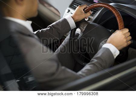 Businessman Drive Car Hands Steering Wheel