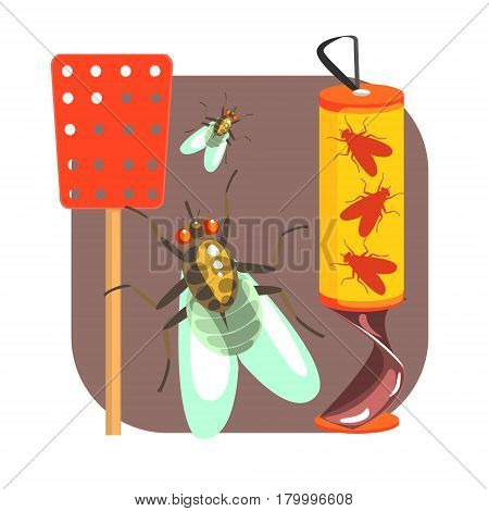 Yellow sticky tape for flies and red fly swatter. Pest control service, detecting exterminating insects. Colorful cartoon illustration isolated on a white background