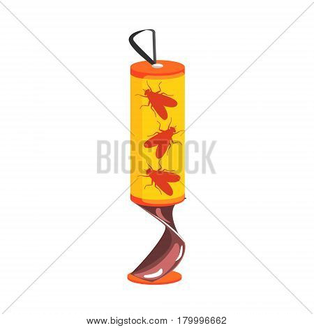 Dead flies on yellow sticky tape, colorful cartoon illustration isolated on a white background