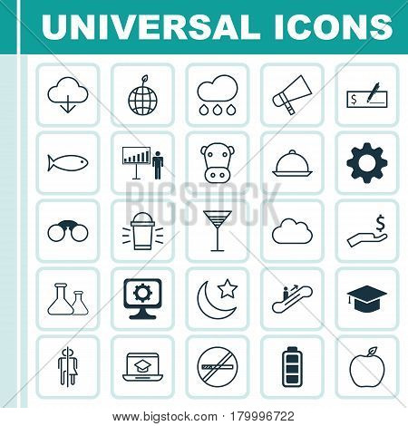 Set Of 25 Universal Editable Icons. Can Be Used For Web, Mobile And App Design. Includes Elements Such As Accumulator Sign, Bullhorn, Nectarine And More.