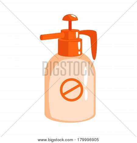 Orange sprayer bottle of insecticide. Pest control service, detecting exterminating insects. Colorful cartoon illustration isolated on a white background