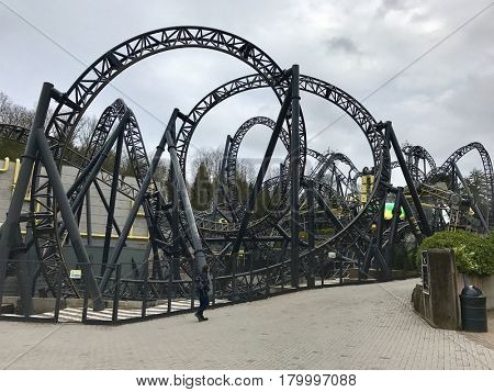 ALTON TOWERS - MARCH 30, 2017: The Smiler rollercoaster at Alton Towers Theme Park in Staffordshire, England, UK.