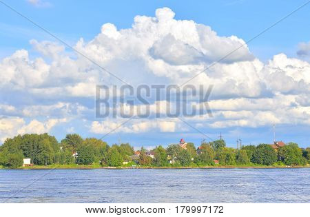 View of Neva River on the outskirts of St. Petersburg at sunny day Russia.