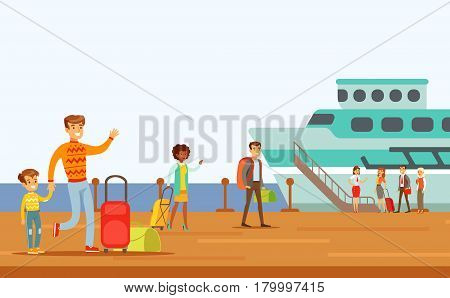 Passengers Boarding Large Ship, Part Of People Taking Different Transport Types Series Of Cartoon Scenes With Happy Travelers. Travelling With Public Transportation Vector Simplified Scene.