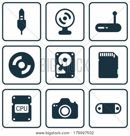Set Of 9 Computer Hardware Icons. Includes Hdd, Blank Cd, Memory Card And Other Symbols. Beautiful Design Elements.
