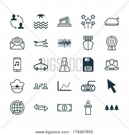 Set Of 25 Universal Editable Icons. Can Be Used For Web, Mobile And App Design. Includes Elements Such As Business Exchange, Diskette, Pilot Hat And More.