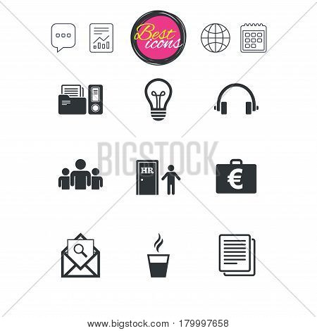 Chat speech bubble, report and calendar signs. Office, documents and business icons. Accounting, human resources and group signs. Mail, ideas and money case symbols. Classic simple flat web icons