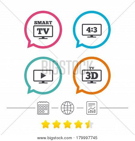 Smart TV mode icon. Aspect ratio 4:3 widescreen symbol. 3D Television sign. Calendar, internet globe and report linear icons. Star vote ranking. Vector