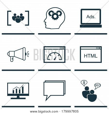 Set Of 9 Advertising Icons. Includes Digital Media, Market Research, Loading Speed And Other Symbols. Beautiful Design Elements.