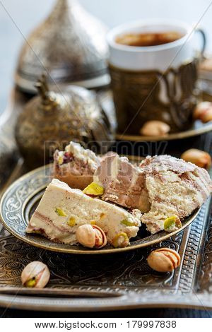 Turkish Coffee And Tahini Halva With Cocoa And Pistachios.
