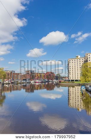 Apartment buildings at the east harbor of Groningen Holland
