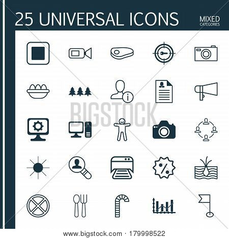 Set Of 25 Universal Editable Icons. Can Be Used For Web, Mobile And App Design. Includes Elements Such As Stop Button, Bullhorn, Lollipop And More.