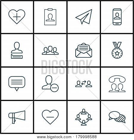 Set Of 16 Social Icons. Includes Team Organisation, Read Message, Chatting Person And Other Symbols. Beautiful Design Elements.