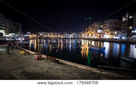 Lights And Reflections In Spinola Bay, Malta