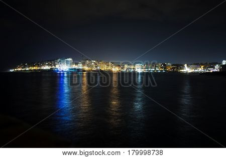St Julian's Bay At Night, Malta