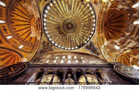 ISTANBUL - MAY 25, 2013: Interior of the Hagia Sophia. Church of Hagia Sophia is the greatest monument of Byzantine Culture. It was built in the 6th century.
