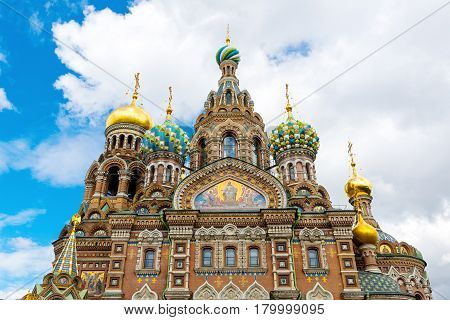 Church of the Savior on Spilled Blood (Cathedral of the Resurrection of Christ) in St. Petersburg, Russia. It is an architectural landmark of central city and a unique monument to Alexander II the Liberator.