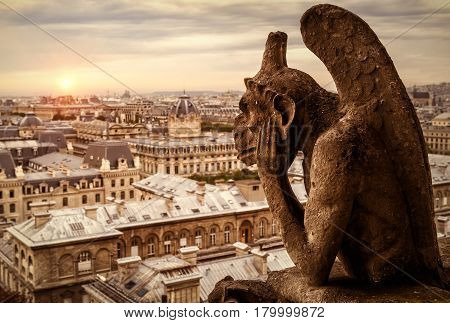 Chimera (gargoyle) of the Cathedral of Notre Dame de Paris overlooking Paris at sunset, France